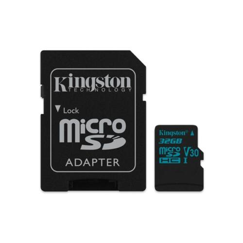 KINGSTON Memóriakártya MicroSDHC 32GB Canvas Go 90R/45W U3 UHS-I V30 + Adapter